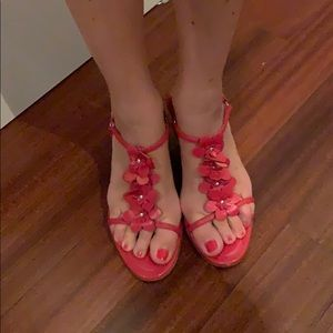 Coach red leather sandals
